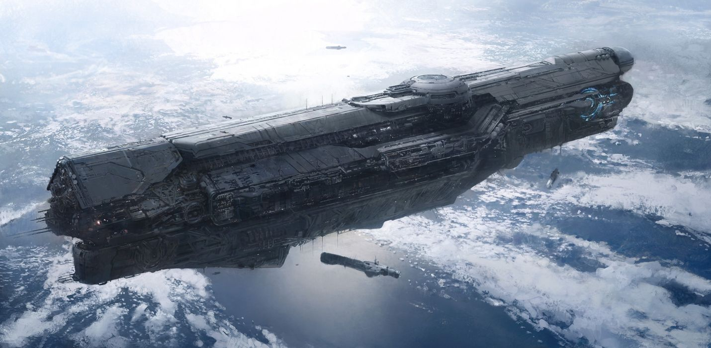 Halo UNSC Infinity sci fi science video games spaceship spacecraft planets ocean sea space futuristic wallpaper