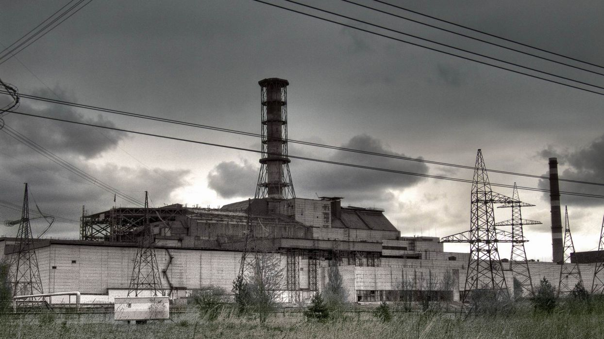 Chernobyl Reactor nuclear radiation destruction ruin decay urban factory buildings black white bw wallpaper