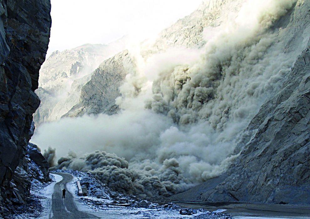 Hunza River landslide roads disaster destruction mother nature people landscapes wallpaper