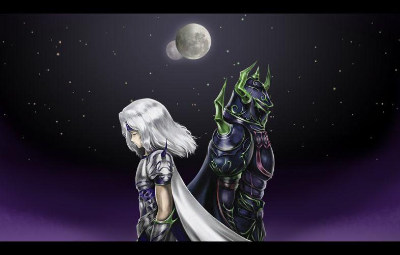 Final Fantasy IV fantasy art girls warrior sky stars moon night wallpaper