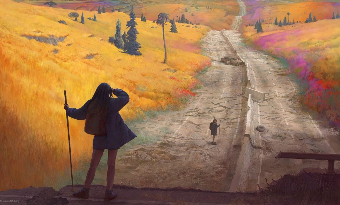 original art girl landscapes mood travel adventure roads wallpaper