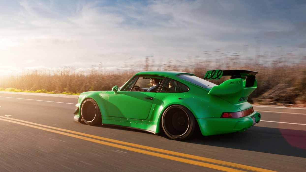 cars sunlight tuning porsche 911 tuned rauh welt begriff green wallpaper