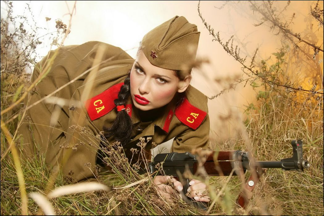 evelyn lory adult women actress models brunettes sexy babes military soldiers uniform cosplay weapons guns assault rifles wallpaper