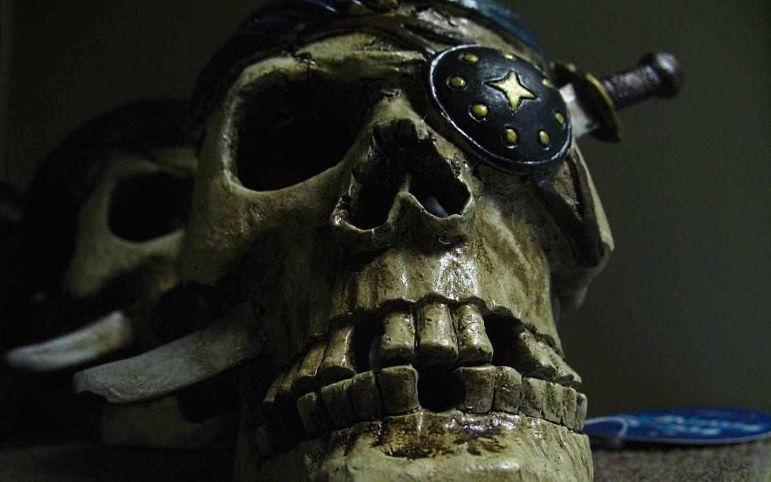 dark horror skulls weapons knife pirates fantasy wallpaper