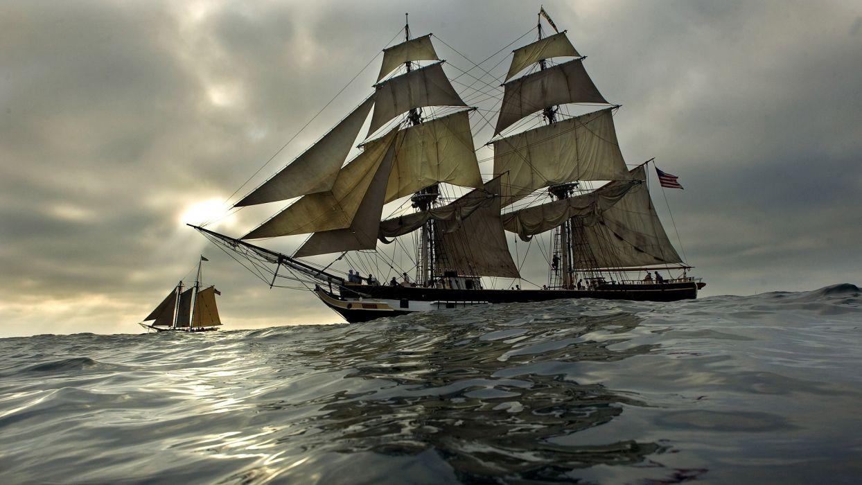 ships boats ocean sea sailing galleon schooner sky clouds wallpaper