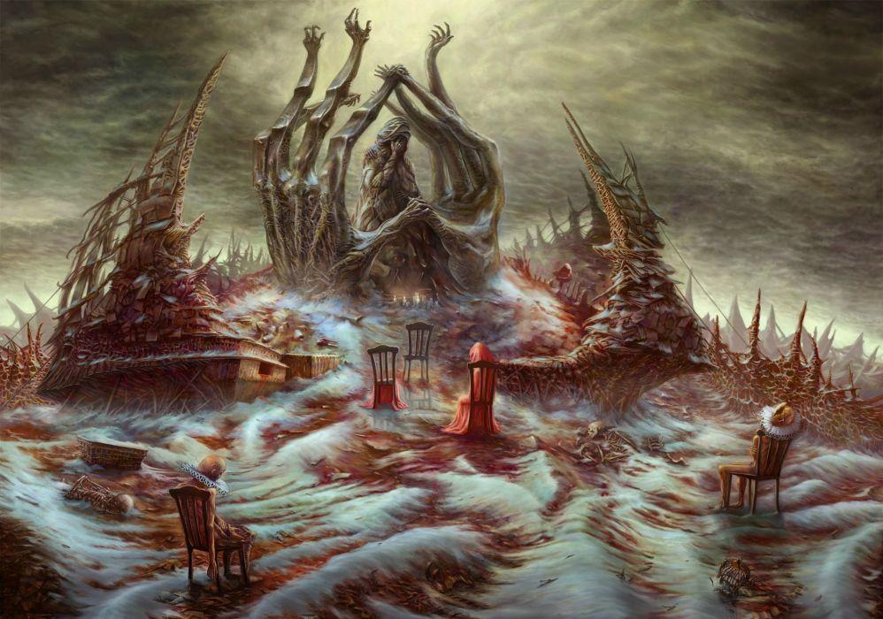 dark horror fantasy art blood clowns reaper death sad sorrow macabre evil creature monster wallpaper