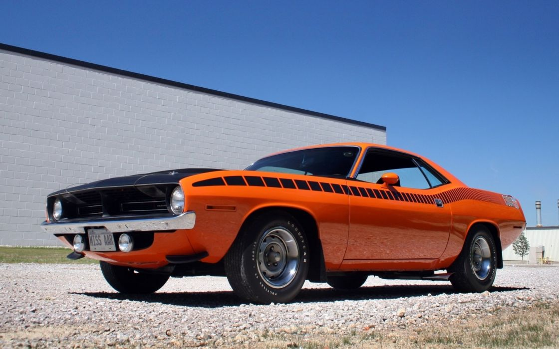 Dodge Challenger muscle cars orange classic cars wallpaper