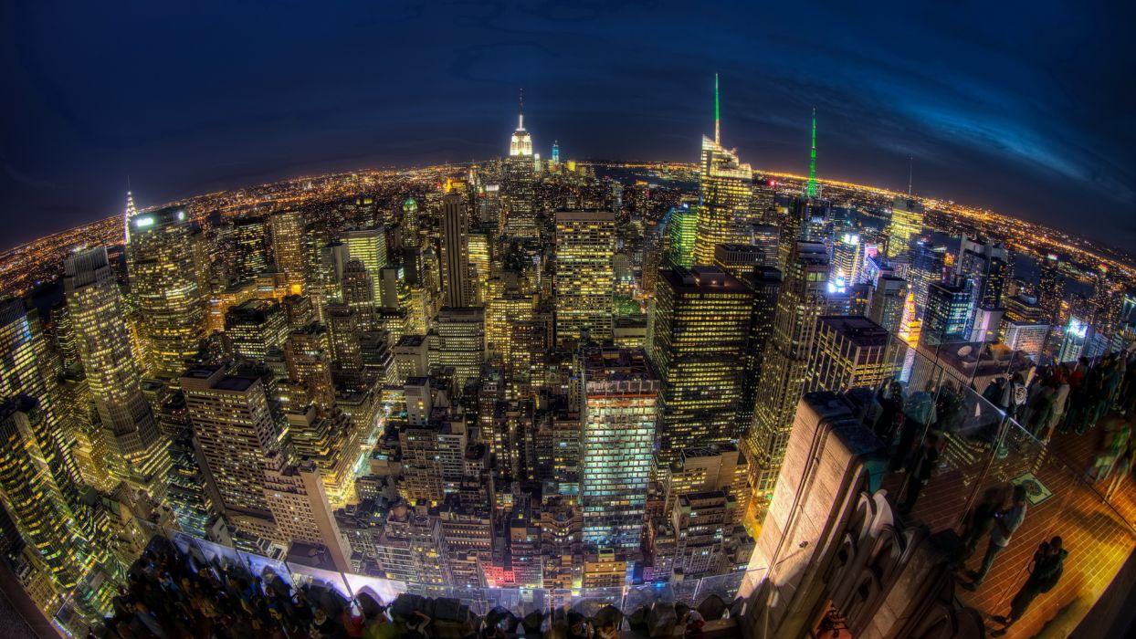 new york architecture fisheye buildings skyscrapers night lights hdr wallpaper