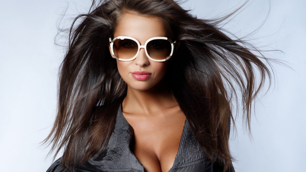 women models glasses style brunettes sexy babes boobs cleavage wallpaper