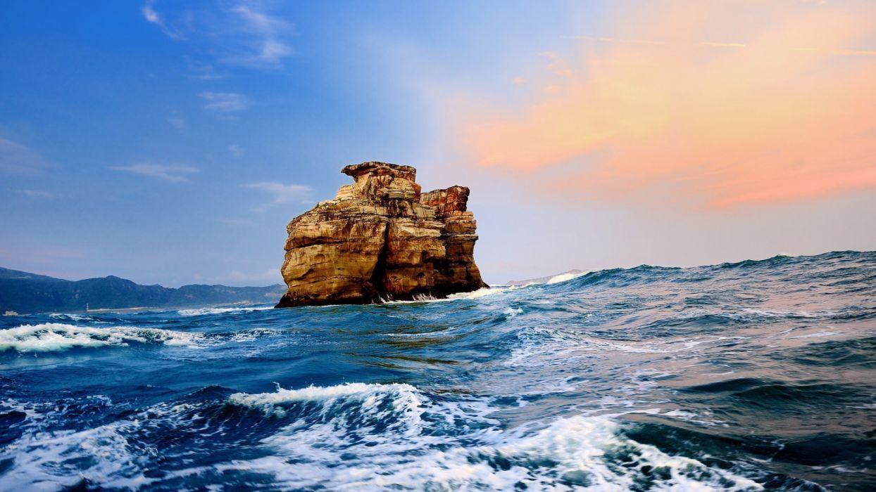 sea ocean waves swell islands sky clouds wallpaper