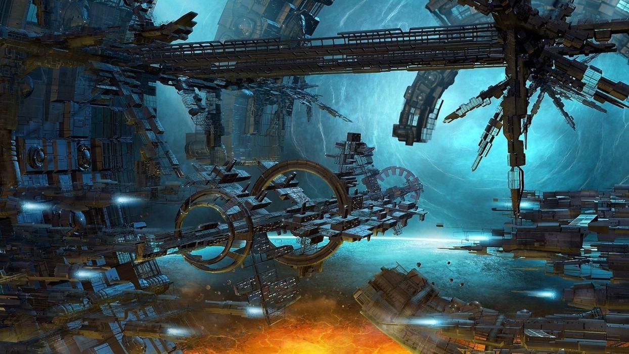 sci fi science futuristic spaceport spaceships spacecraft wallpaper