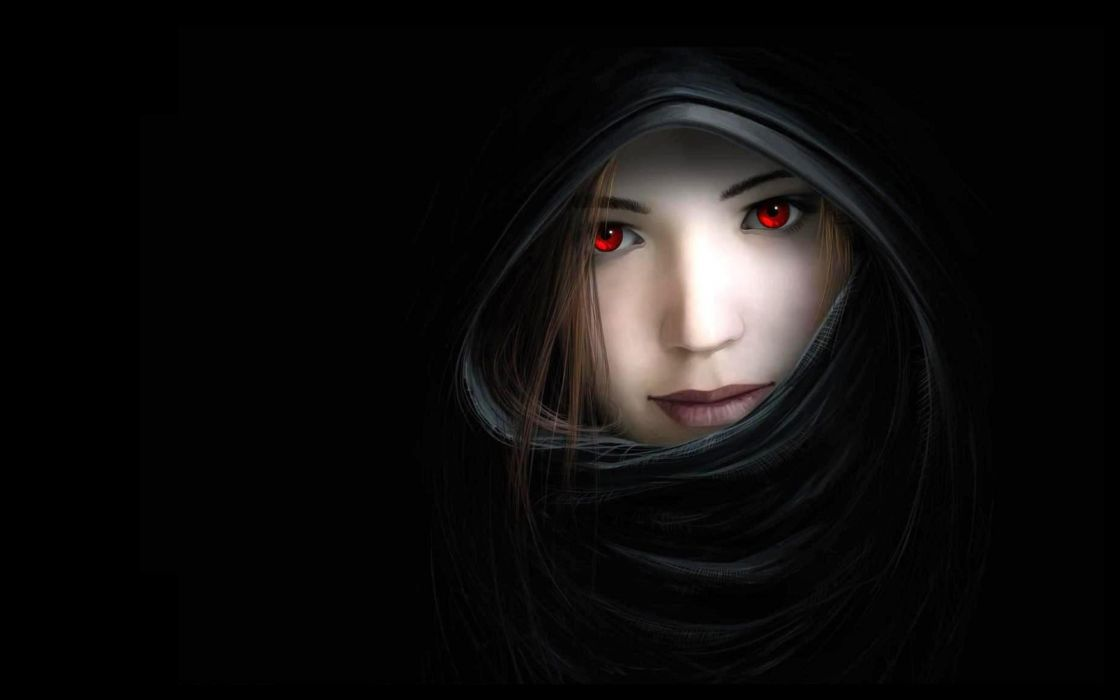 women dark mouth red eyes artwork noses hooded witches black background 2560x1600 wallpaper Abstract Arts HD wallpaper