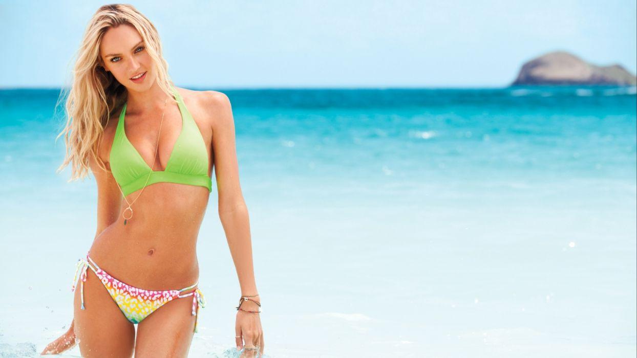 Candice Swanepoel women fashion glamour models blondes sexy babes bikini swimwear ocean sea wallpaper