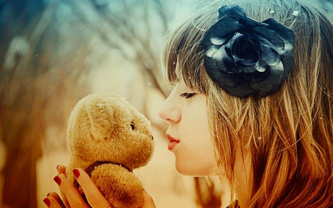 mood love romance teddy bear bokeh women model redhead face kiss wallpaper