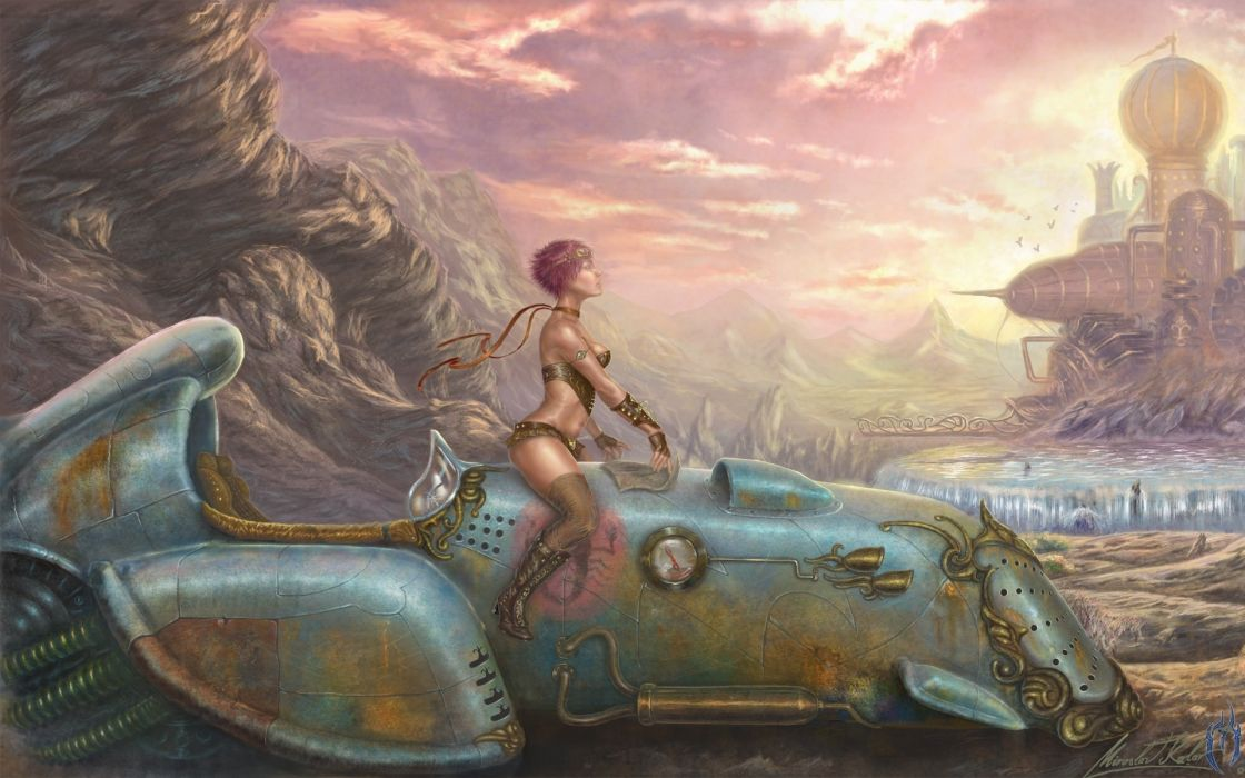 boots women futuristic dreams rust artwork vehicles sci fi science sexy babes cities wallpaper