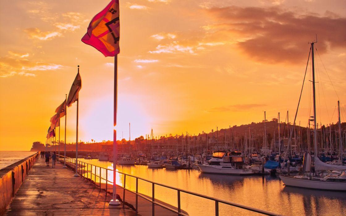 boats marina horbor dock pier nature sky sunset sunrise clouds reflection wallpaper