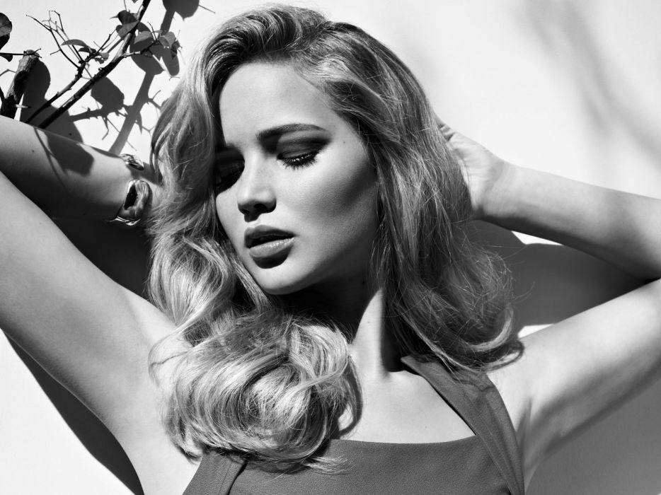 Jennifer Lawrence actress black white bw women models blondes sexy babes wallpaper