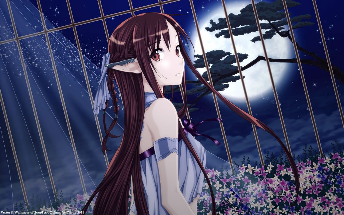 sword art online anime girls cage flowers wallpaper