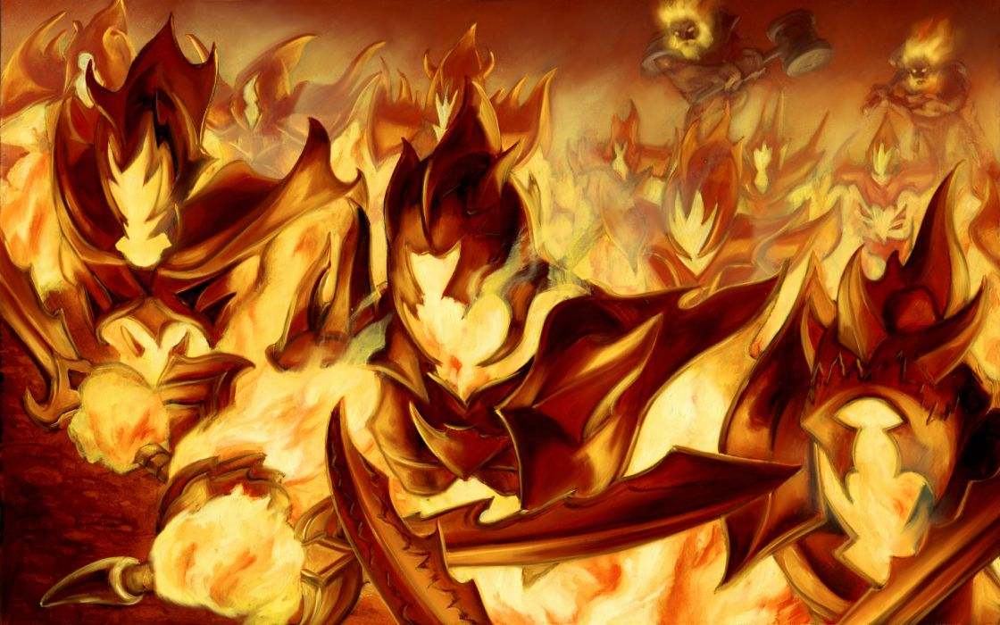 dungeons dragons fantasy art fire warriors battle weapons wallpaper