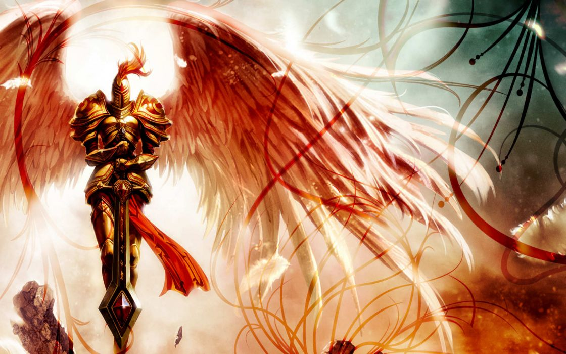 League of Legends fantasy art angels knight armor warrior wings wallpaper