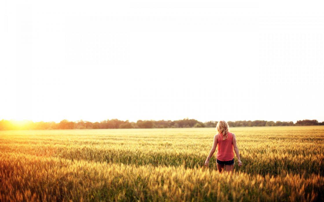 mood women models blondes babes nature landscapes fields wheat sunset sunrise wallpaper
