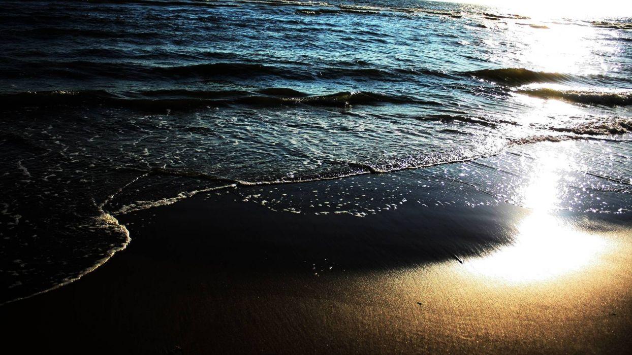 landscapes ocean sea sand waves reflection sunlight sunset sunrise wallpaper