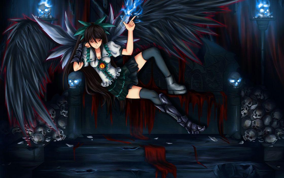 shou mai touhou reiuji utsuho girl bed wings skull demon wallpaper