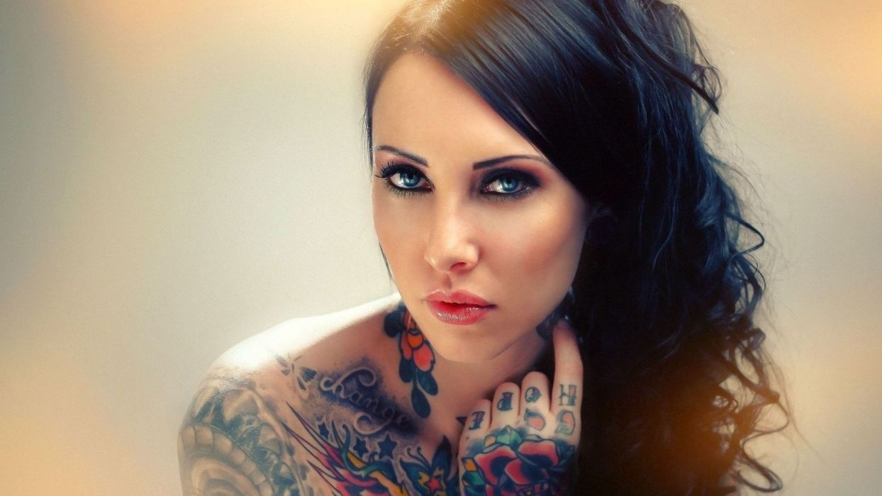 glam gothic tatoo face eyes pov women models sexy babes wallpaper