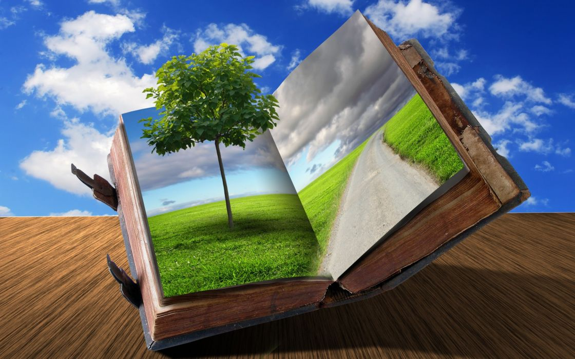 cg digital art 3d books dream imagination nature landscapes sky clouds mood wallpaper