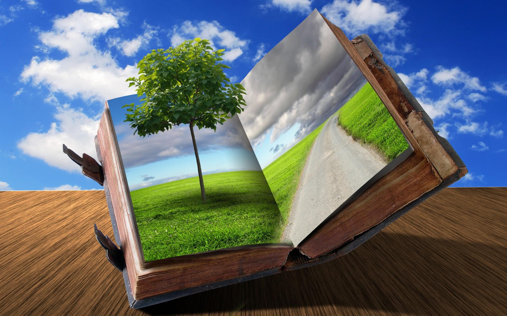 Cg digital art 3d books dream imagination nature ...