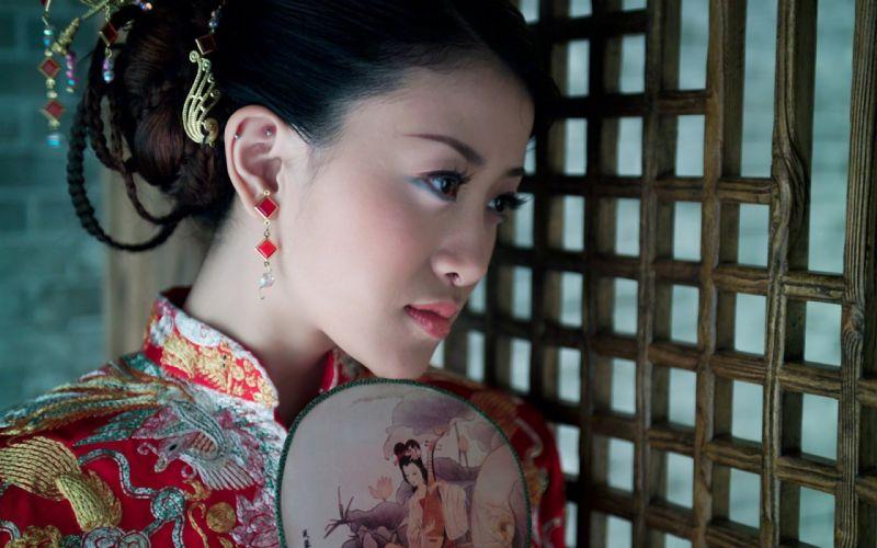 asian oriental china geisha kimono women models brunettes babes face mood wallpaper