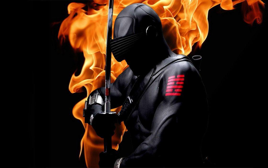 ninja asian oriental weapons swords fire flames warriors wallpaper