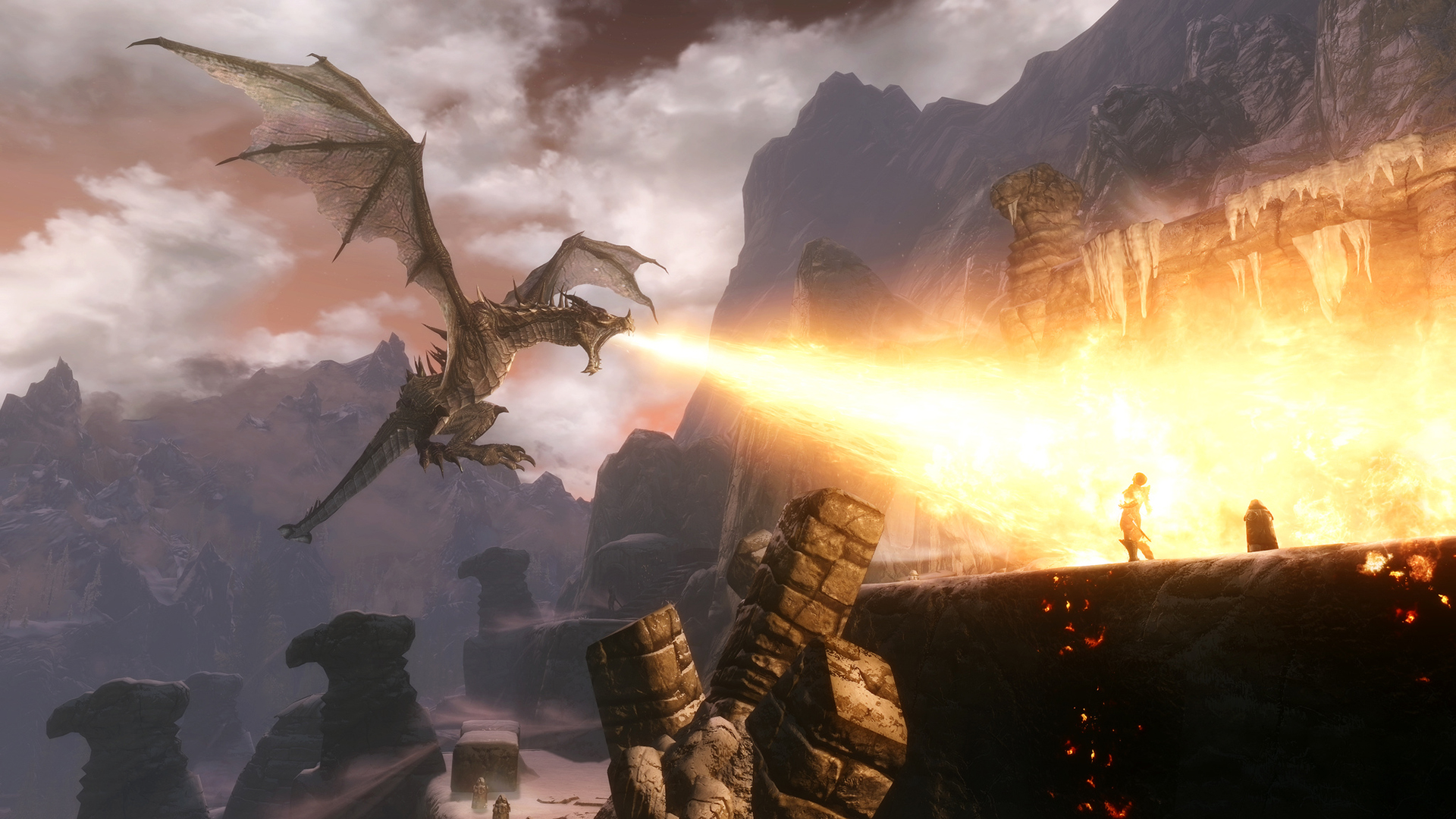 1366x768 dragon fire skyrim - photo #6