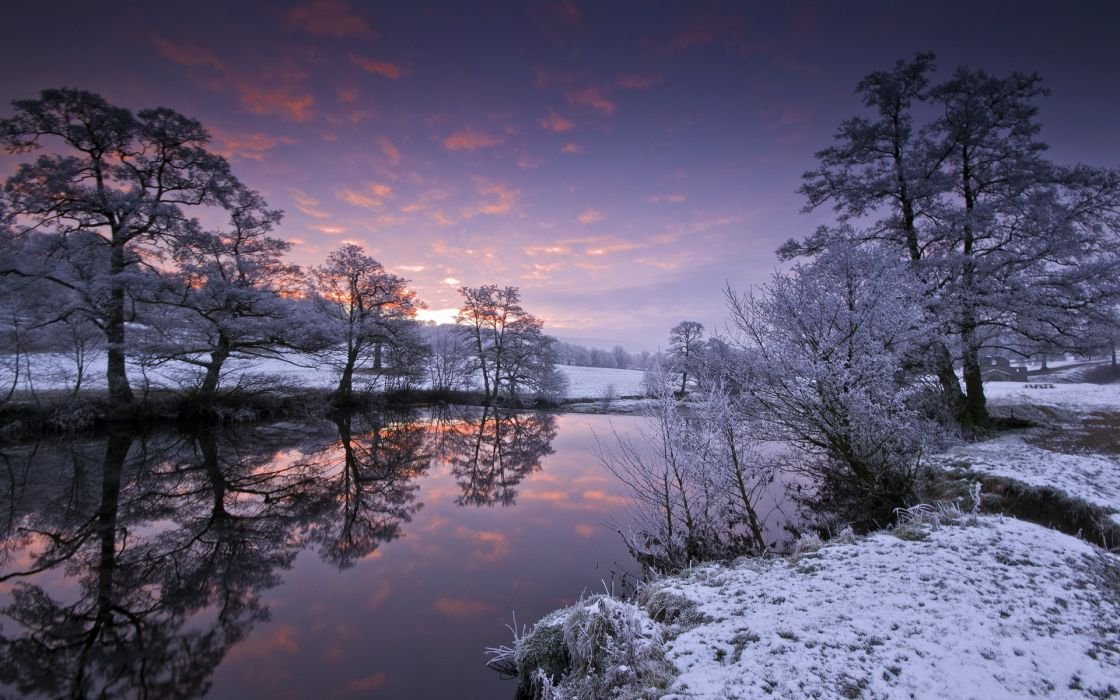 landscapes winter snow reflection water sky clouds sunset sunrise trees wallpaper