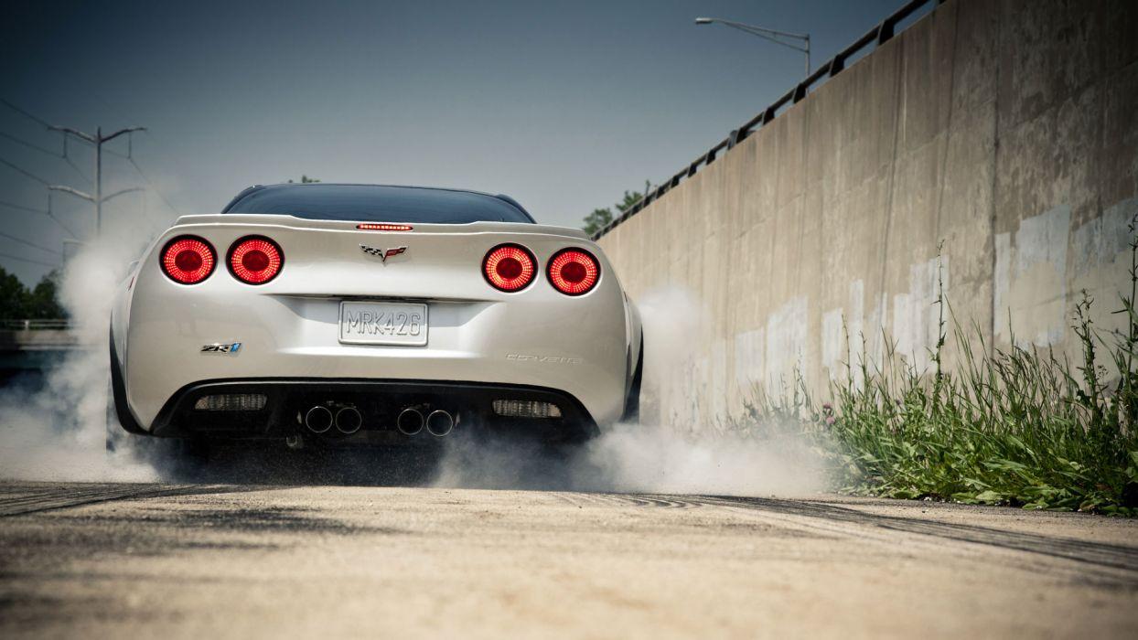Chevrolet Corvette ZR1 Burnout Smoke C6 wallpaper