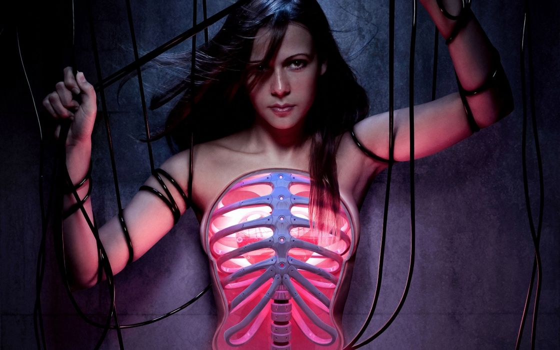 anatomy women models babes sexy brunettes skeleton dark horror sci fi cyborg wallpaper