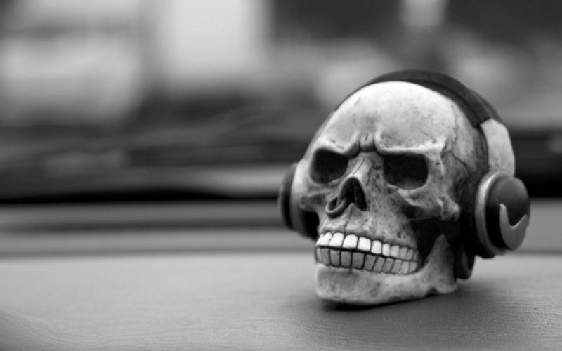 headphones dark horror skull bw black white wallpaper