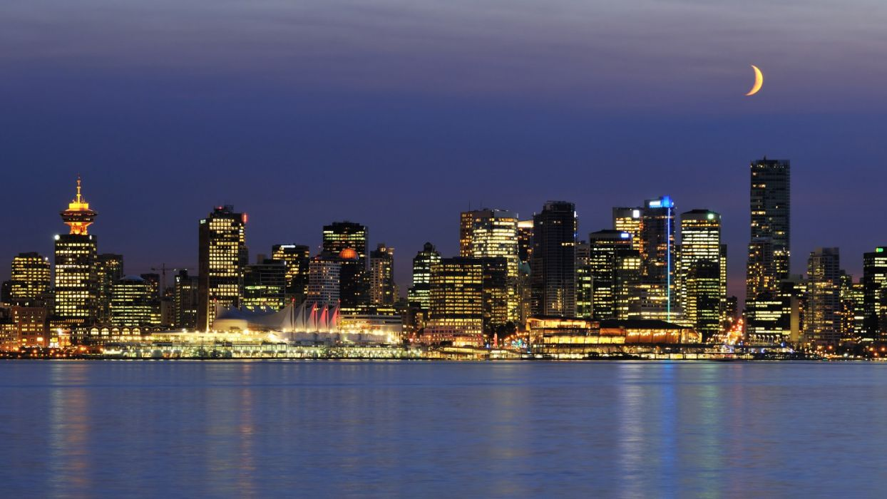 Vancouver Canada architecture buildings skyscrapers night sky moon skyline cityscapes wallpaper