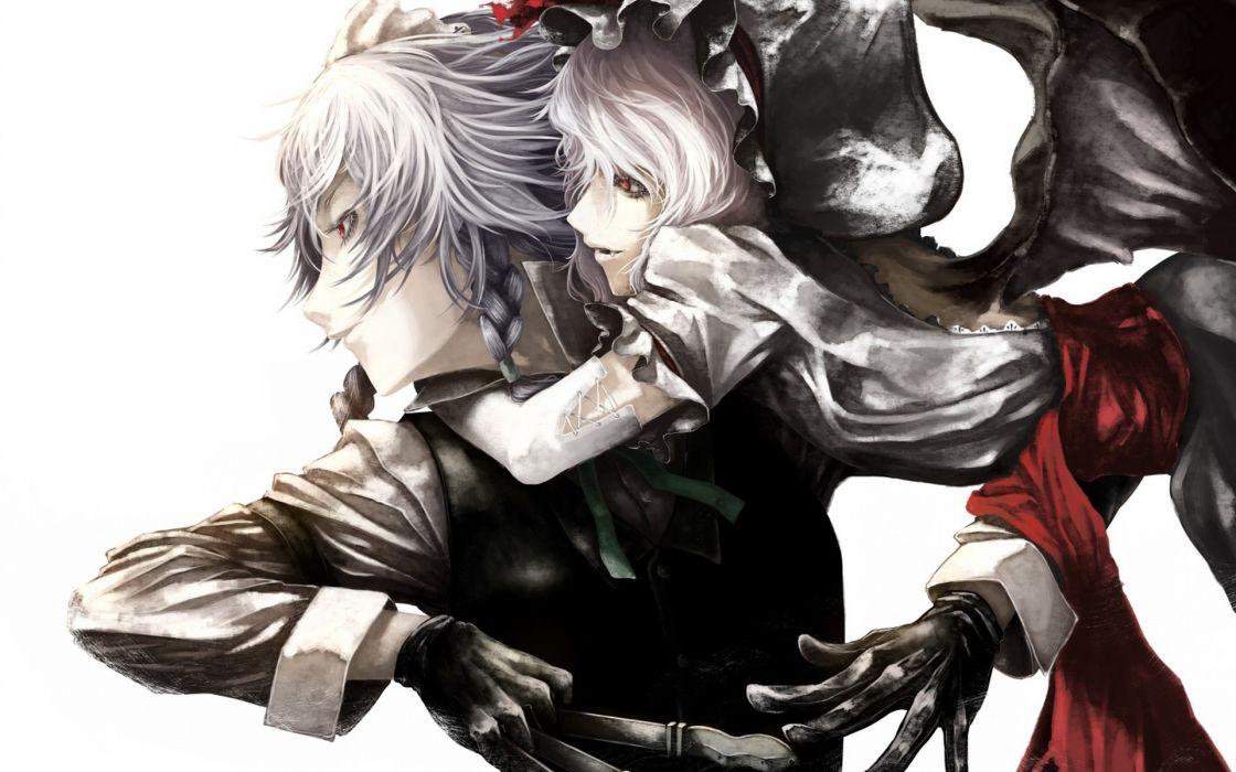 video games touhou wings gloves maids ribbons weapons izayoi sakuya vampires red eyes short hair wallpaper