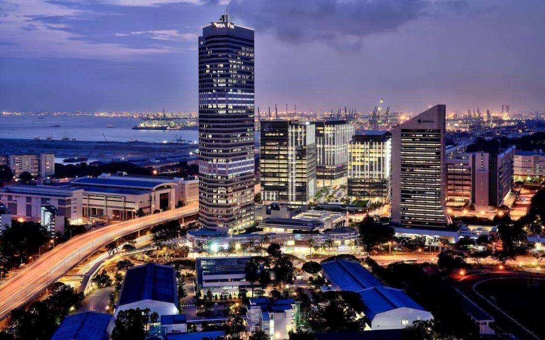 Singapore architecture buildings skyscrapers roads bridges wallpaper