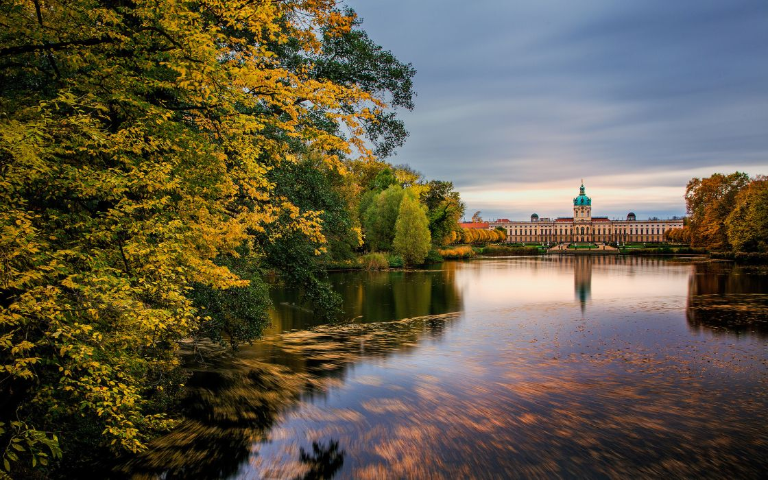 Germany palace Charlottenburg berlin buildings nature lakes trees autumn fall reflection wallpaper