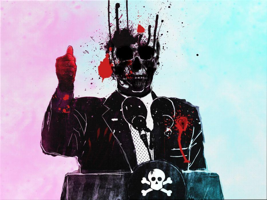 dark horror skull politics skull blood vector wallpaper