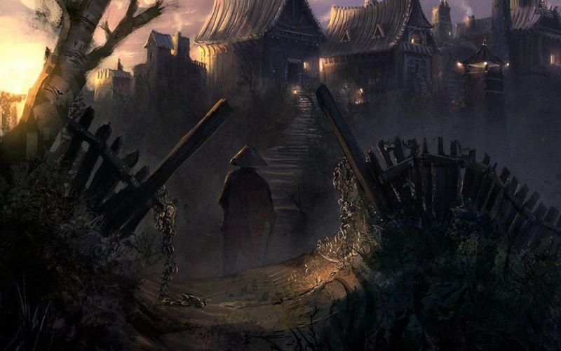 China Village Art cities dark fantasy people weapon sword landscapes buildings spooky creepy wallpaper