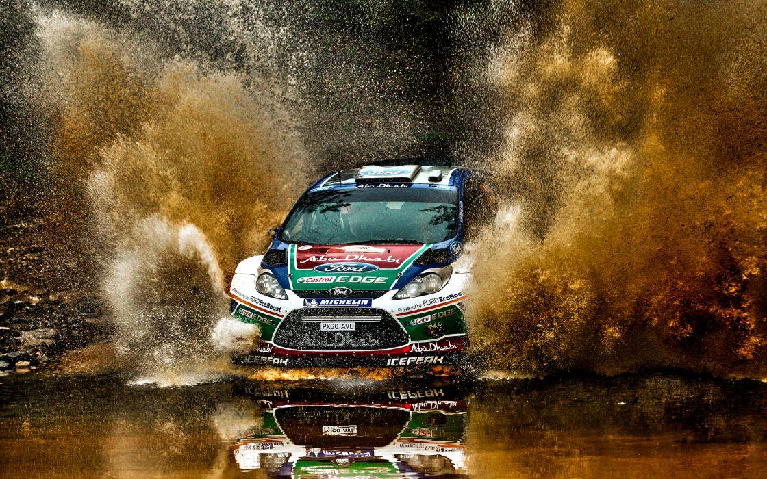 Ford Rally Splash Fiesta Racing Race Track Water Rivers Splash Spray