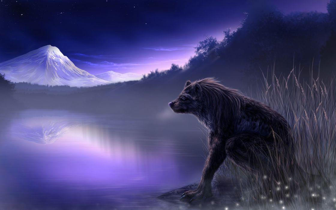 fantasy art wolf wolves landscapes nature lakes art wallpaper