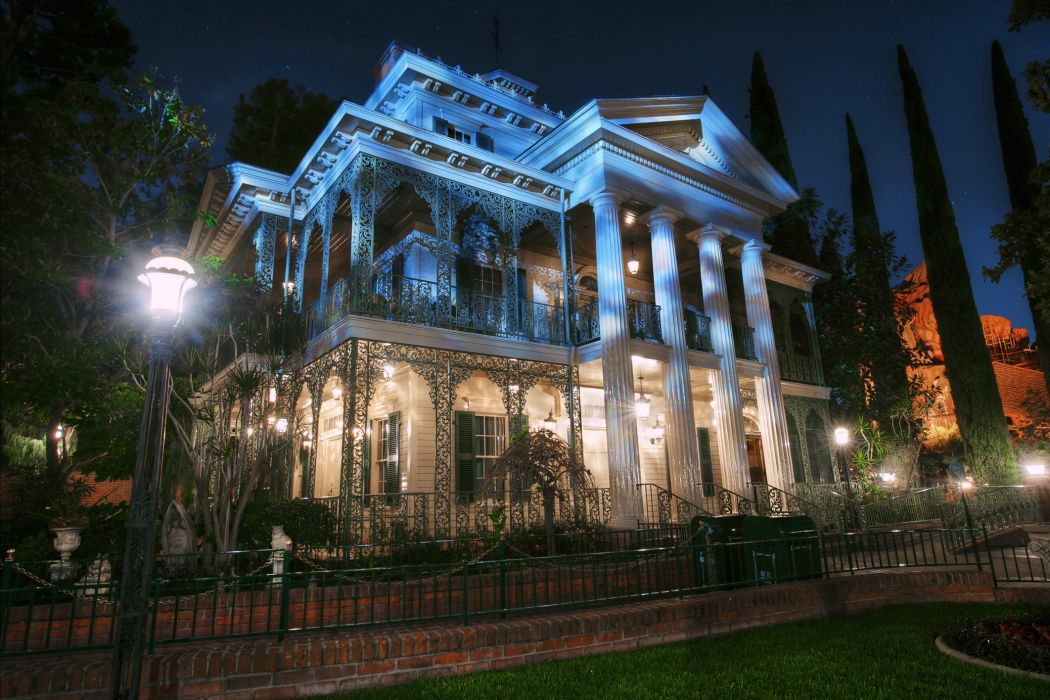 USA Anaheim California Night Street lights HDR buildings mansion wallpaper