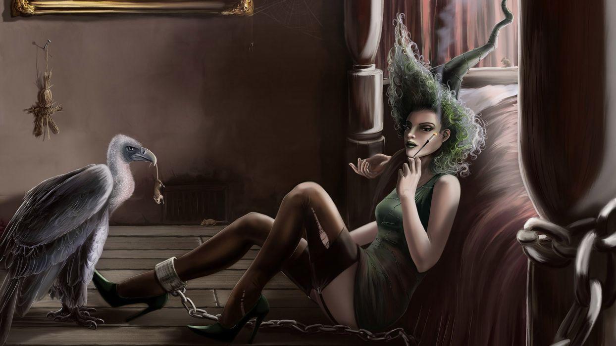fantasy art dark horror gothic witch birds halloween wallpaper
