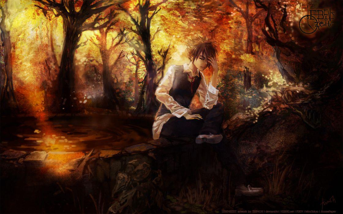 Lebenszeit(artist) original vector art men males mood landscapes trees forest woods autumn fall wallpaper