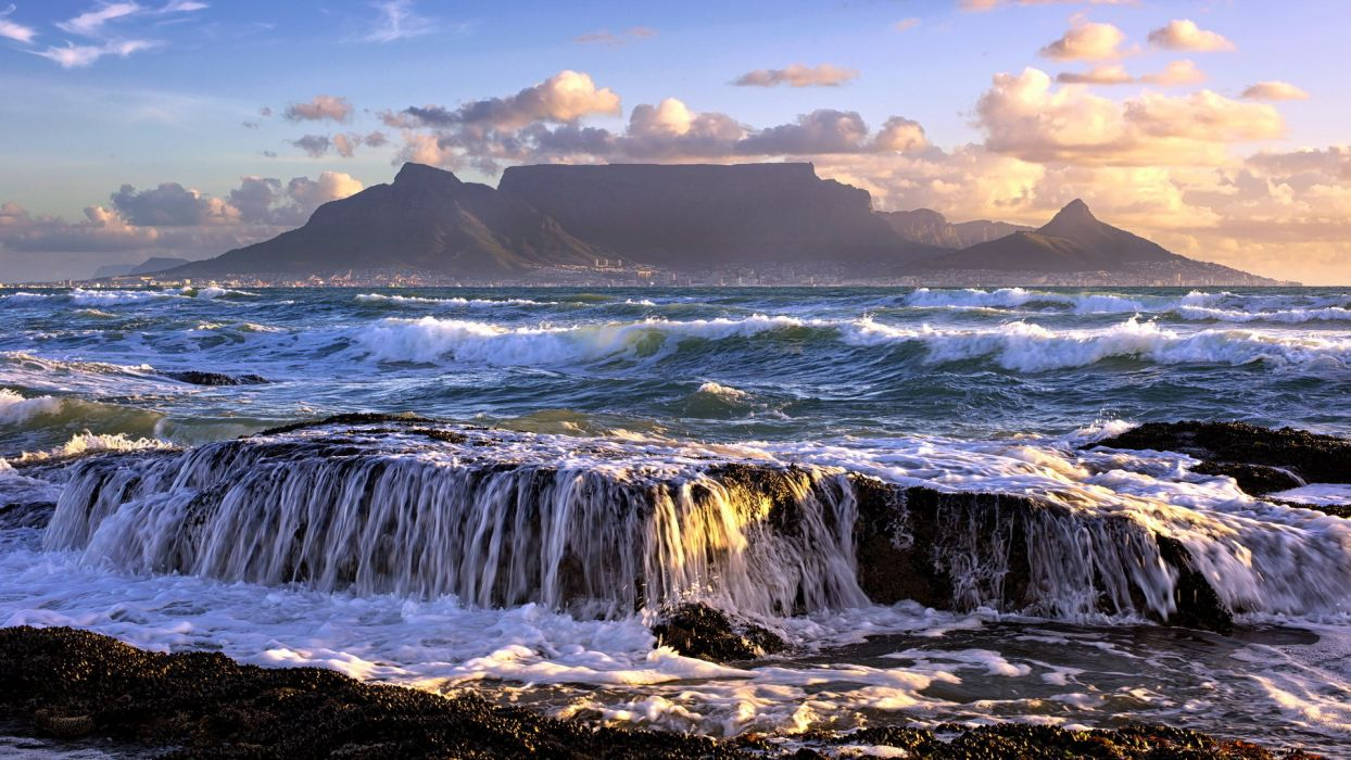 landscapes seascape ocean sea waves sky clouds islands waterfall beaches wallpaper