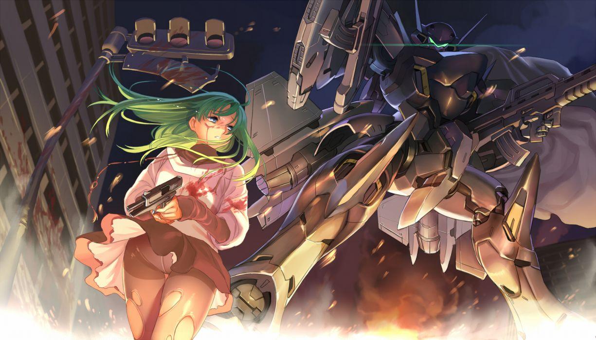 original vector art sci fi science girl mecha robot weapons guns wallpaper